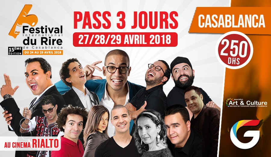 FESTIVAL INTERNATIONAL DU RIRE CASABLANCA : PASS 3 JOURS