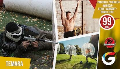 Faites le plein d'adrénalin ! 1 partie de paintball de 50 billes + 2 heures de minigolf + 2 heures de street workout + 20 min de Bubble Foot